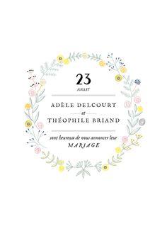 Couronne fleurie pour un faire-part de mariage champêtre... Romantique et élégant ! #wedding #rustic #invitationcard