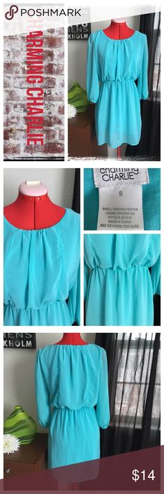 Charming Charlie blue chiffon dress NWOT.                                                              REASONABLE OFFERS ONLY- -Smoke and pet free - I try to stay around 75% off MSRP; please keep this in mind when making offers.  -I do not model anything; everything looks different on everyone and I don't wasn't too Jade that. I will provide measurements if needed.  -NO HOLDS, NO TRADES, POSH RULES ONLY! Charming Charlie Dresses Midi