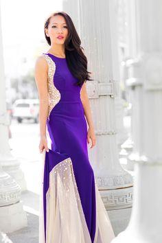 royal purple dress, evening dress, camille la vie dress, photos taken at urban light on STYLEBYALINA.com. style by alina, fashion blog, petite fashion