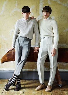 Luka Badnjar + Joe Brotherton Don Mod Styles + Bowl Cut Hairstyles for Glass Fashion Editorial Luka Badnjar and Joe Brotherton- Chris Craymer, Stylist David Nolan 1960s Fashion Mens, Mod Fashion, Fashion Models, Vintage Fashion, Fashion Outfits, Style Fashion, Fashion 2015, Fashion Shoes, Fashion Trends