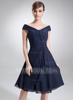 Corte A/Princesa Hombros caídos Hasta la rodilla Chifón Vestido de madrina con Cascada de volantes (008006013) - JJsHouse