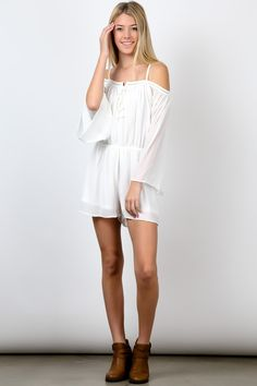 Wholesale White Off Shoulder Long Sleeve Waist Strap Thigh High Romper Young Contemporary Print Trendy Fashion Boutique Apparel Fashion Usa, Trendy Fashion, Fashion Show, White Off Shoulder, Cold Shoulder Dress, Fit Flare Dress, Thigh Highs, Fashion Boutique, Streetwear