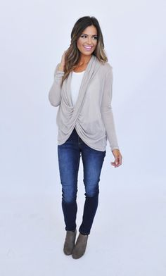 Taupe Draped Overlay Top