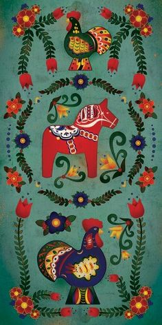 Dala horse and roosters