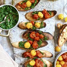 Parsley Pesto and Burst Heirloom Cherry Tomato Crostini
