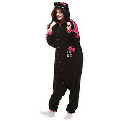 VU ROUL Unisex Adults Costumes Kigurumi Onesie Black Hello Kitty Cat Size  UK L -- 47891431b