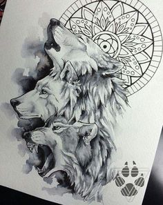 #Wolves, nice sketch would give a great tattoo for the lumberjack or lumbergirls More