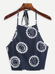 Top escote halter sin espalda crop - azul-Spanish SheIn(Sheinside)