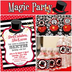 Magic Party-invites; cupcakes; bottled water