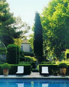 Ginny Magher's pool yard in Provence via Cote de Texas garden inspiration outdoor living Provence Garden, Provence France, Provence Style, Outdoor Rooms, Outdoor Gardens, Outdoor Living, Formal Gardens, French Countryside, Garden Pool