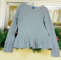 Izod Cable Knit Ruffle Hem Sweater L Dark Heather Gray 100% Cotton #Izod #ScoopNeck