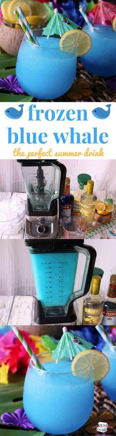 Frozen Blue Whale / 1 c citrus vodka 1 c blue curacao 2 c lemonade 5-6 c ice cubes 1 lemon