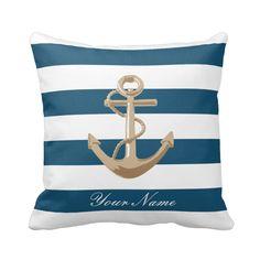 Nice customizable maritime and nautical pillow with golden anchor on it.  #pillow #maritime #nautical #anchor #sailor #marine #navy #customizable #personalized