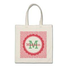 #initial - #Pink Polka Dot Monogram Tote Bag