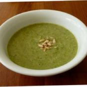 Broccoli and Pine-Nut Soup   Ingredients:  1 onion, diced  1tbs oil  3 cups broccoli  3 cups chicken or vegetable stock  ¼ cup pine-nuts
