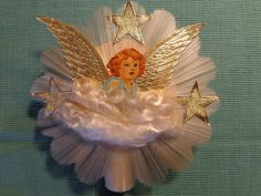 Vintage Angel Tree Topper Gold Wings Spun Glass Angel Hair 1940s ...