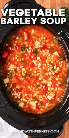 Homemade Vegetable Barley Soup is super versatile. Serve with fresh bread and a side salad for a perfect meal! Vegetable Barley Soup, Vegetable Soup Recipes, Chicken Soup Recipes, Chili Recipes, Chicken Vegetable Soup Crockpot, Salad Recipes, Slow Cooker Soup, Slow Cooker Recipes, Crockpot Recipes