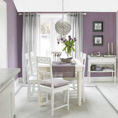 Cozy Interior Room Design Ideas With Purple Walls 13 interior Purple Rooms, Purple Walls, Purple Gray, Purple Kitchen Walls, Light Purple, Purple Kitchen Designs, Gray Walls, Light Colors, Dining Room Paint