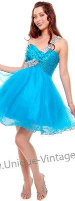2012 Homecoming Dresses Turquoise & Silver Sequins One Shoulder Prom Dress - 4 to 16