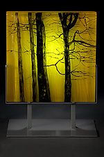 """Yellow Forest by Paul Messink (Art Glass Sculpture) (13"""" x 10"""")"""