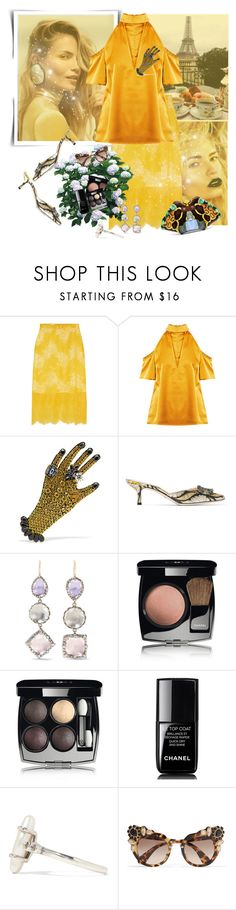 """""""Where The Wild Roses Grow"""" by danijelapoly ❤ liked on Polyvore featuring Carven, Gucci, Larkspur & Hawk, Chanel, Alexander McQueen, Chan Luu, Miu Miu, Spring and yellow"""