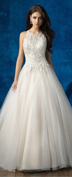 Elegant Tulle Jewel Neckline A-line Wedding Dresses With Beaded Embroidery