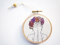 Floral Crown Embroidery 'Thea' 3 inch Hoop by CheeseBeforeBedtime