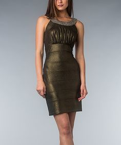 Bronze Shimmer Tiered Yoke Dress