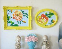 Yellow Floral Magnetic Memo Boards via ShabbyVintageMom