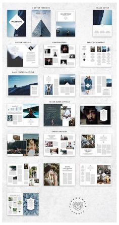 Magazine by Paperwhite Studio on Creativ. -MILESTONE Magazine by Paperwhite Studio on Creativ. - Annual Report by MrTemplater on More A modern, minimal, magazine, folio or brochure InDesign template. This layout has been designed as a Surf. Mise En Page Portfolio, Portfolio Design, Indesign Presentation, Invite Design, Magazine Architecture, Design De Configuration, Poster Festival, Mises En Page Design Graphique, What Is Fashion Designing
