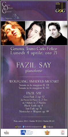 Fazil Say, pianoforte | Lunedì 4 aprile 2016, Teatro Carlo Felice, #Genova #gog1516