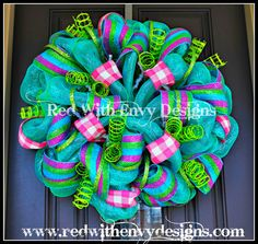 Summer Wreath Wreath Deco Mesh Wreath Deco by RedWithEnvyDesigns, $80.00  Doing myself!!!  LOVE!