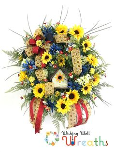 """Sunflower Spring Wreath, All Season Wreaths, Sunflower Wreath, Front Door Sunflower wreaths, Front Door Wreaths Spring Summer, Yellow Wreath ✔️Say """"Hello!"""" to springtime and the neighborhood with a vibrant wreath arrangement. This captivating arrangement is sure to bring a smile"""