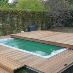 Hot Tub Deck, Hot Tub Backyard, Small Backyard Pools, Backyard Pool Designs, Wood Pool Deck, Pool Fence, Small Swimming Pools, Small Pools, Swimming Pools Backyard