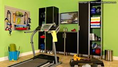 Exercise Room Ideas | Exercise room LOVE these ideas! I want the cabinets for my newly painted exercise room!