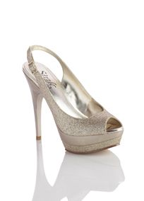 "Soar to new heights in these glitter peep-toe slingbacks. Metallic 5 1/4"" heel with a double glitter / metallic 1 1/2"" plaform will surely make you stand out in the crowd. Manmade upper and sole. Imported. Sizzle by Coloriffics."