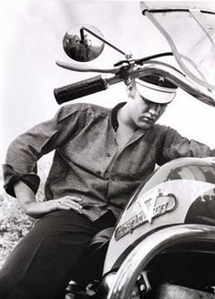 Elvis Presley with his Harley-Davidson model KH (1956)