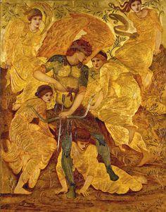 "kairos13:   ""Cupid's Hunting Fields"" Edward Burne-Jones 1882 (Delaware Art Museum, Wilmington, USA)"