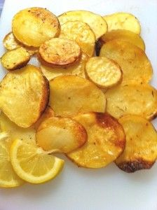 Kicked Up Roasted Potato Slices via A Lot on Your Plate