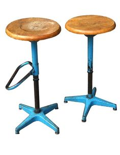 adjustable industrial stools (no label). you will need to check flea markets or ebay...