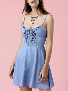 Cami Vestido Bordado Del Dril De Algodón - Azul M
