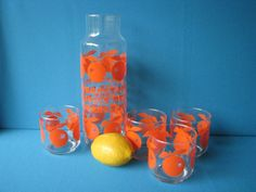 Orange Juice Carafe Libbey Server Set with 4 by LucyBettyNJune