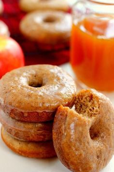 Cinnamon Vanilla Glazed Apple Cider Donuts - Baked to perfection with hints of fall spices and sweet apple cider.