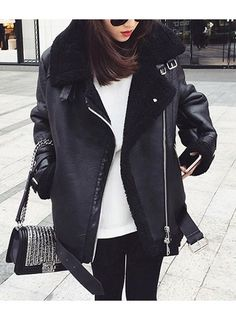 SWODE Oversized Shearling Biker Jacket Coat@ shopjessicabuurman.com