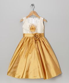 Take a look at this Ivory & Gold Embroidered Flower Dress - Toddler & Girls by Kid Fashion on #zulily today!
