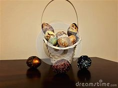 Easter Egg Basket, Ilustration, Backgrounds Stock Image - Image of eggs, rabbits: 113251993 Easter Egg Basket, Easter Eggs, Red Green, Yellow, Copper Red, Different Patterns, Pansies, Rabbits, Vibrant Colors