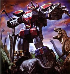 Awesome painting of the Megazord from Mighty Morphin Power Rangers! :D