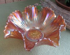 Carnival Glass Bowl Marigold Rippled and Scalloped by LazyYVintage Mosaic Glass, Glass Art, Antique Glassware, Fenton Glass, Carnival Glass, Glass Collection, Cut Glass, Milk Glass, Colored Glass