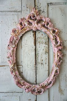 Pink oval picture frame gold accents ornate hanging roses scrolls shabby cottage chic distressed vintage painted decor anita spero design