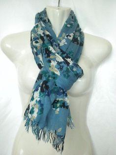 """LL Bean Blue Floral Lightweight Cotton Scarf Wrap 37"""" x 70"""" #LLBean #ShawlWrap"""
